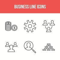 paket med 6 ikoner för affärsraden vektor