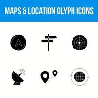 kartor och plats glyph ikonuppsättning