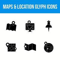 kartor och plats 6 glyph-ikoner