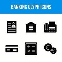 Bank- und Finanzglyphen-Symbolsatz vektor