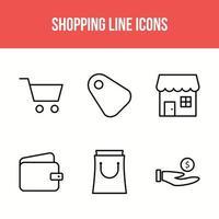 sex shopping linje ikonuppsättning