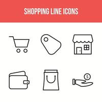 Symbol für sechs Einkaufslinien
