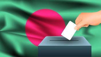 Hand, die Stimmzettel in Box mit bangladeschischer Flagge setzt