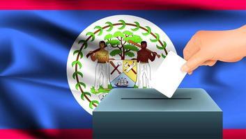 Hand, die Stimmzettel in Schachtel mit Belize-Flagge setzt