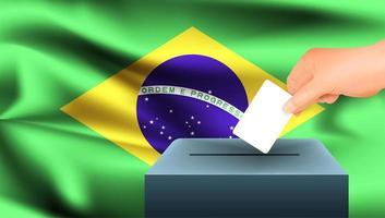 Hand, die Stimmzettel in Box mit brasilianischer Flagge setzt