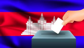 Hand, die Stimmzettel in Kasten mit kambodschanischer Flagge setzt