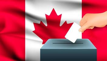 Hand, die Stimmzettel in Kasten mit kanadischer Flagge setzt