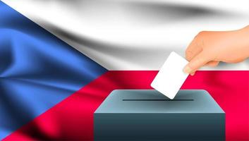 Hand, die Stimmzettel in Box mit Flagge der Tschechischen Republik legt