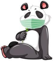 sittande panda seriefigur bär mask