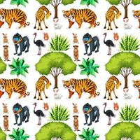 safari sömlösa mönster med söta djur