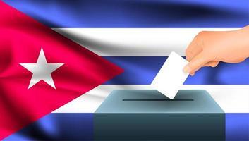 Hand, die Stimmzettel in Kasten mit kubanischer Flagge setzt