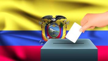 Hand, die Stimmzettel in Box mit äquadorianischer Flagge setzt