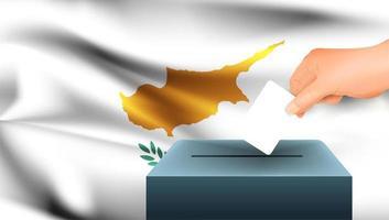 Hand Stimmzettel in Box mit Zypern Flagge setzen