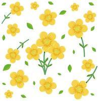 nahtloses Muster mit niedlichen gelben Blumen und Blatt vektor