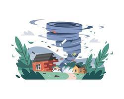 Twister zerstört Häuser vektor
