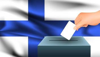 Hand, die Stimmzettel in Box mit finnischer Flagge legt