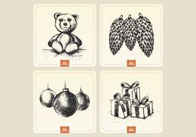 Weinlese-Feiertags-Karten-Sammlung Vektor