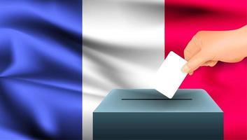 Hand Stimmzettel in Box mit französischer Flagge setzen