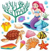 Satz Meerestiere und Meerjungfrau Cartoon-Stil vektor