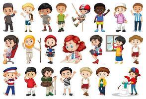 Gruppe von Kindern, die verschiedene Aktivitäten ausführen vektor