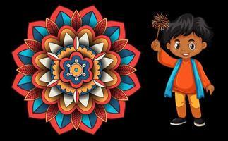 Hintergrunddesign mit glücklichem Kind und Mandala vektor