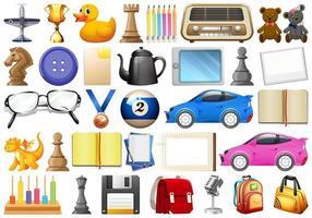 diverse kontors-, hem- och skolrelaterade föremål och leksaker