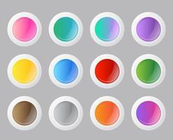 runde Tasten mit Farbverlauf eingestellt vektor