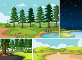 fyra olika scener i naturen vektor