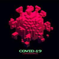 isometrische 3d Coronavirus-Zelle