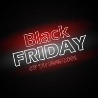 svart fredag neon bokstäver affisch