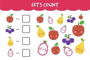 Zählspiel mit süßen frischen Früchten vektor