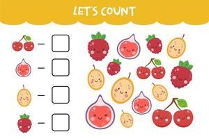 Zählspiel mit kawaii bunten Früchten