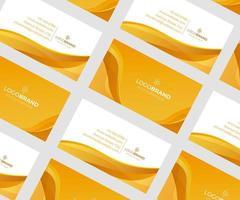 abstrakt orange och vitt visitkort med vågor