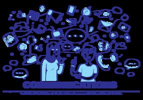 Comunication Gekritzel Vektor-Illustration vektor