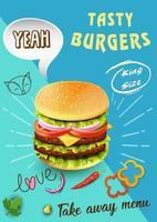 leckere Burger Doodle Werbung vektor