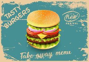 Fast-Food-Burger Vintage-Grunge-Menü vektor