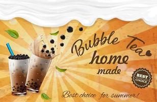 hemlagad taro mjölk bubbla te grunge reklam vektor
