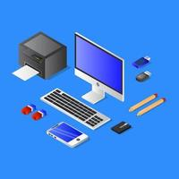 isometrische Büromaterialien auf blau