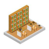 isometriskt biblioteksrum på vitt