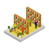 isometrischer Bibliotheksraum auf Weiß