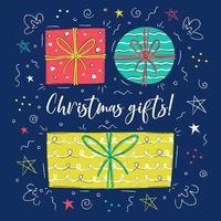 handgezeichnete Weihnachtsgeschenke mit Bändern, Sternen und Schleifen