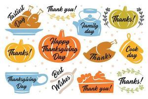 Thanksgiving-Aufkleber, Etiketten vektor