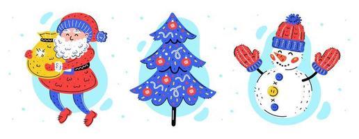 Weihnachtsmann, Weihnachtsbaum und Schneemann Hand gezeichneten Satz vektor