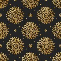 goldene Blütenblüte auf schwarzem nahtlosem Muster vektor