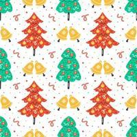 Hand gezeichnete flache Weihnachtsbäume mit Glöckchen drucken