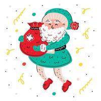 handgezeichneter Weihnachtsmann mit Geschenkbeutel vektor