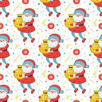 Weihnachtsmann mit Sack Hand gezeichnet nahtloses Muster