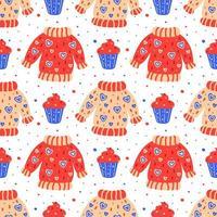 handgezeichnete flache Pullover mit Muffinmuster