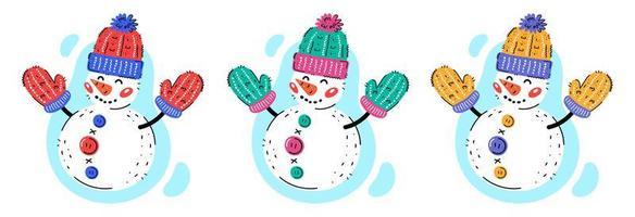 Schneemänner mit Wollstrickmütze und Handschuhen vektor