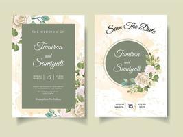 schöne Hochzeitseinladung mit Blumenarrangements und Aquarellen